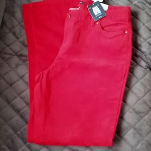 Lands end holiday red corduroy pants size 14
